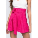 Trendy Womens Solid Color Bow Tied Waist Relaxed Fit Shorts