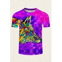 Mens Modern 3D T-Shirt Animal Colorful Wolf Pattern Round Neck Regular Fitted Short Sleeve Tee Top