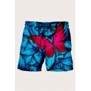 Fashion Mens Shorts 3D Animal Multiple Butterfly Pattern Drawstring Mid Thigh Fitted Mid Rise Relax Shorts with Pocket