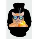 Lovely Black Hooded Sweatshirt Cat Sunglasses Lemon Juice Glass 3D Printed Drawstring Pocket Regular Fit Full Sleeve Hooded Sweatshirt for Men