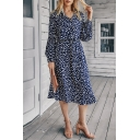 Fancy Ladies Ditsy Floral Printed Blouson Sleeve V-neck Button up Drawstring Waist Mid A-line Dress