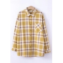 Fashion Plaid Pattern Check Pocket Long Sleeve Point Collar Button-up Relaxed Fit Shirt