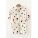 Trendy Yellow Mixed Cartoon Print Short Sleeve Turn down Collar Button-up Loose Shirt for Ladies