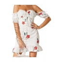 Allover Floral Printed Bow-tied Short Sleeve Off the Shoulder Stringy Selvedge Lace-up Front Ruffled Hem Glamorous Short Sheath Dress in White