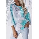 Fashionable Tie Dye Round Neck Bell 3/4 Sleeve Loose Fit T-Shirt for Women