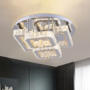 Dining Room LED Semi Flush Light Modernity Chrome with Squared Clear Crystal Shade
