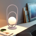 1 Bulb Bedside Table Lighting Modernist Pink Nightstand Lamp with Oblong Frame Metallic Shade