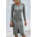 Elegant Womens Solid Color Long Sleeve V-neck Button Up Twist Front Slit Mid Sheath Dress