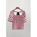 Pretty Polka Dot Printed Bow Tied Short Sleeve Square Neck Pintuck Slim Fit Blouse Top in Pink