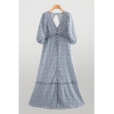 Vintage Gray Ditsy Flower Printed Blouson Sleeve V-neck Open Back Button-up Long A-line Dress for Ladies