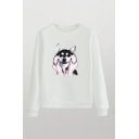 Lovely Dog Hand Printed Round Neck Long Sleeve Regular Fitted Pullover Sweatshirt