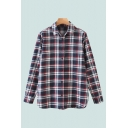 Casual Womens Plaid Printed Long Sleeve Spread Collar Button Up Relaxed Fit Shirt Top in Black