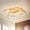 Aluminum Geometric Flush Mount Light Modern LED Flush Ceiling Fixture in Gold for Bedroom