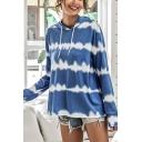 Casual Girls Tie Dye Printed Long Sleeve Drawstring Relaxed Fit Hoodie in Blue
