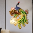 1-Light Resin Wall Lamp Rural Blue and Green Peacock Wall Lighting Living Room Sconce with Global Crystal Shade, Right/Left