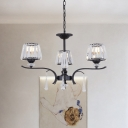 Black Cone Hanging Chandelier Modernism 3 Heads Clear Crystal Pendant Lamp for Bedroom
