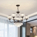 Modernism 6-Light Chandelier Lamp Black Tapered Hanging Ceiling Light with Beveled Crystal Shade