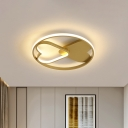 Loving Heart Acrylic Flush Mount Lamp Cartoon LED Gold Close to Ceiling Light in Warm/White Light for Bedroom