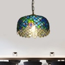 Cylinder Hanging Pendant Light 1 Light Cut Glass Victorian Suspension Lamp in Blue with Peacock Tail Pattern