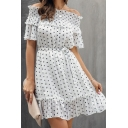 Summer New Stylish Polka Dot Off the Shoulder Puff Short Sleeve Mini White Dress