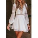 Plain Long Sleeve V Neck Hollow Panel Mini Dress