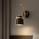 Metallic Cylindrical Wall Lighting Retro 1 Light Wall Mount Lamp with Adjustable Arm in Black
