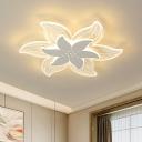 Super Thin 2-Layer Windmill Ceiling Flush Modern Stylish Acrylic Bedroom Flush Mount Light in White