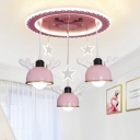 Suspended Bowl and Star LED Ceiling Light Kid Acrylic 3-Head Children Bedroom Flush Mount in Pink/Blue with Antler Decor
