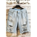 Popular Mens Jean Shorts Light Wash Ripped Pocket Zipper Fly Mid Rise Fitted Jean Shorts