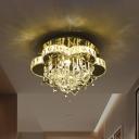 Flower Corridor LED Flushmount Crystal Modern Style Semi Flush Ceiling Light in Chrome