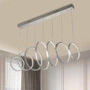 7-Ring Multi-Light Pendant Minimalist Faceted Crystal LED Chrome Suspension Lighting for Dining Room