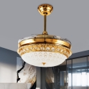 Simplicity Bowl Fan Lamp Frosted Glass 4 Blades LED Bedroom Semi Flush Light Fixture in Gold, 19