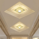 Chrome LED Round/Square Flushmount Minimalist Clear Crystal Close to Ceiling Lighting in Warm/White/Multi Color Light
