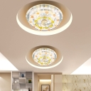 Round Hallway Flush Mount Light Fixture Cut Crystal LED Contemporary Ceiling Lamp in Chrome
