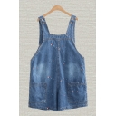 Fashionable Overalls Fish Bubble Embroidery Light Wash Pocket Stitch Button Short Denim Overalls for Ladies