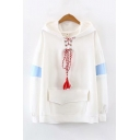 Classic Womens Hooded Sweatshirt Colorblock Lace-up Tassel Front Flap Pockets Cuffed Long Sleeve Loose Fitted Hooded Sweatshirt