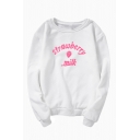 Womens Creative Pullover Sweatshirt Letter Strawberry Milk Printed Loose Fit Long Sleeve Crew Neck Graphic Pullover Sweatshirt