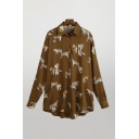 Brown Vintage All over Tiger Printed Single Breasted Turn-down Collar Long Sleeve Loose Fit High Low Shirt for Women