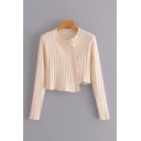 Simple Womens Solid Color Knitted Long Sleeve Crew Neck Oblique Button Regular Crop Cardigan