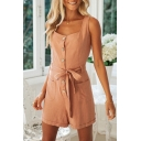 Womens Rompers Stylish Solid Color Roll-up Front Button Bow-Knot Detail Sleeveless Strap Regular Fitted Rompers