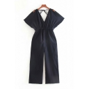 Womens Jumpsuits Creative Solid Color Elastic Waist Cold Shoulder Loose Fitted Short Sleeve Straight Jumpsuits