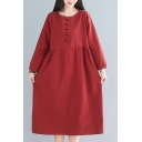 Casual Womens Plain Frog Button Front Collarless Long Sleeve Oversize Midi Dress