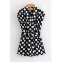 Womens Rompers Chic Polka Dot Printed Belted Sleeveless Surplice Neck Regular Fitted A-Line Rompers