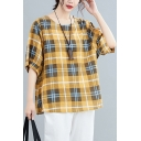 Fashion Womens Plaid Printed Linen and Cotton Half Sleeve Round Neck Loose Fit T Shirt