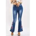 Womens Blue Jeans Creative Medium Wash Flower Embroidery Zipper Fly Regular Fit 7/8 Length Flare Jeans