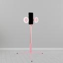Phone Holder LED Vanity Lighting Modernism Pink Self Stick Fill Light with Round Metallic Shade, USB