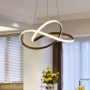Cycle Design Pendant Lamp Simple Metal Black/White LED Chandelier for Dining Room, Warm/White Light