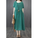 Simple Womens Linen and Cotton Plain Short Sleeve Asymmetric V-neck Frog Button Drawstring Waist Mid Swing Dress
