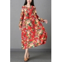 Unique Womens Linen and Cotton All Over Flower Printed Long Sleeve Round Neck Mid Oversize Dress