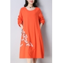 Retro Ladies Linen and Cotton Flower Embroidered Long Sleeve Round Neck Mid A-line Dress